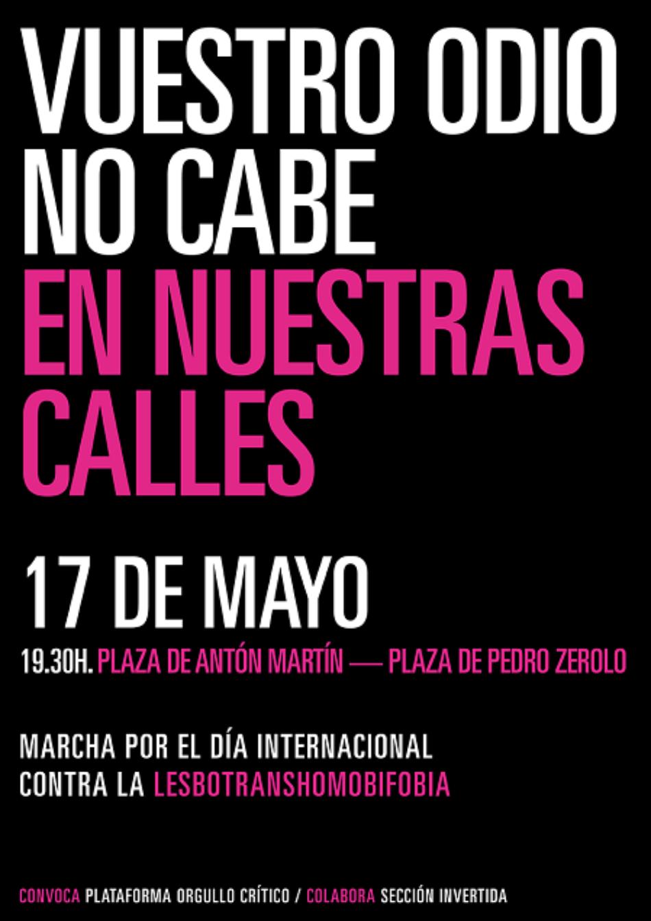 Marcha por el Día Internacional contra la Lesbotranshomobifobia: «Vuestro odio NO cabe en nuestras calles»