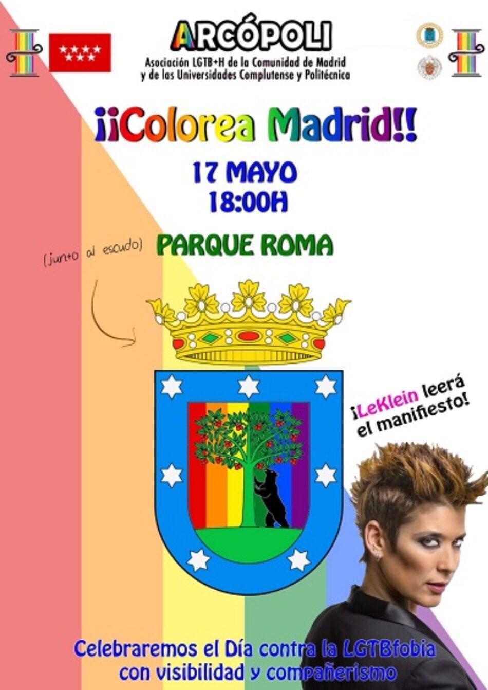 Arcópoli convoca a la ciudad de Madrid a una concentración contra la LGTBfobia en el mayor escudo de la ciudad y rodearlo del arcoíris
