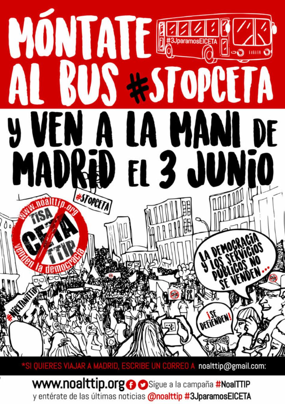 Concejales del Ayuntamiento de Madrid muestran su apoyo a la manifestación #StopCETA del 3 de junio