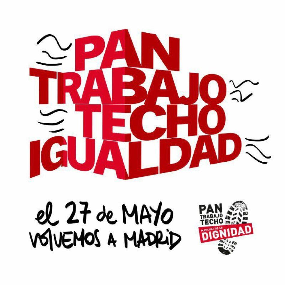 """Las  Marchas de la dignidad convocan una manifestación el 27 de mayo en Madrid bajo el lema """"Pan, Trabajo, Techo e Igualdad"""": vídeo de la rueda de prensa"""