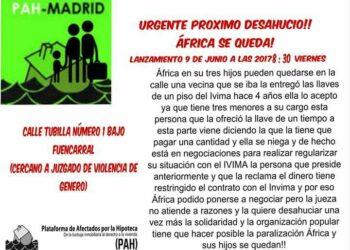 PAH Madrid: «¡Urgente próximo desahucio. África se queda!»