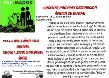 Dos desahucios previstos para el día 14 de junio en Madrid: Elisabeth y África se quedan!