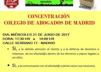 PAH Madrid se concentrará ante la sede del Colegio de Abogados de Madrid, ICAM, el 21 de junio