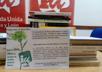 Izquierda Unida León Local iniciará una actividad de 'suelta de libros libres' el próximo día 1 de julio para fomentar la lectura en verano