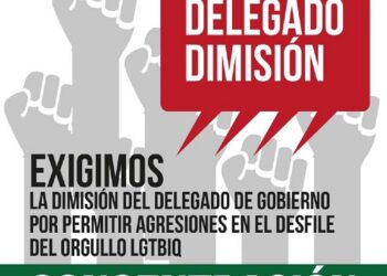 Concentración para exigir la dimisión o cese del delegado del Gobierno en Murcia tras permitir una concentración fascista junto a la Marcha del Orgullo