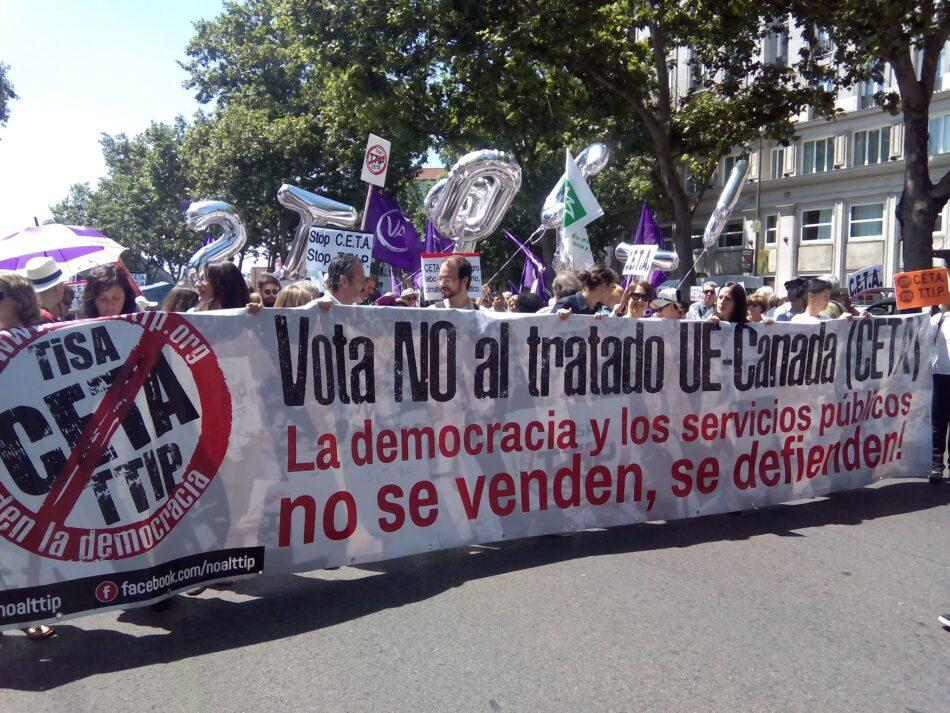 La Campaña No al TTIP, CETA y TiSA demanda a las fuerzas políticas el rechazo al acuerdo comercial entre la Unión Europea y Canadá (CETA)