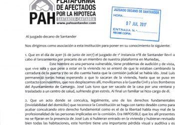 PAH Santander va a denunciar ante el CGPJ el lanzamiento chapucero de uno de sus miembros