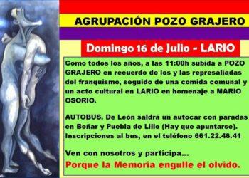 La Agrupación Pozo Grajero invita a participar en el Homenaje a las víctimas del franquismo que se celebrará este domingo, 16 de julio, con la tradicional subida al Pozo Grajero