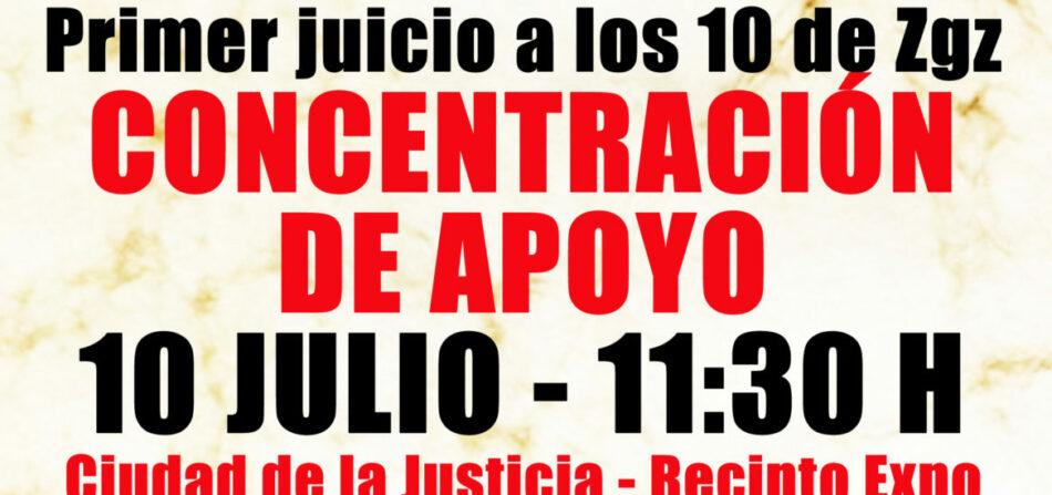 El lunes se celebra el primer juicio contra los 10 antifascistas de Zaragoza