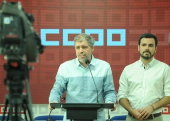 """Garzón y Sordo coinciden en que hay que """"reforzar la colaboración entre IU y CC.OO"""" para enfrentarse a las políticas neoliberales """"que van en contra de la clase trabajadora"""""""