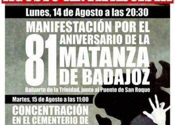 Manifestación por el aniversario de la matanza de Badajoz: 14 de agosto
