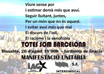 Llamamiento a participar en la manifestación de Barcelona: sábado 26 de agosto