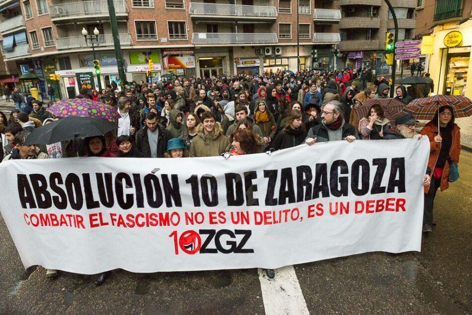A menos de un mes del juicio, se multiplican las iniciativas que piden la absolución de los 10 de Zaragoza