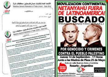 Sindicatos Palestinos de Gaza repudian a Netanyahu y organizan manifestación continental