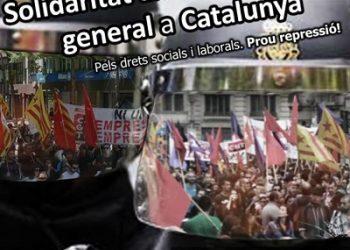 CGT, Intersindical, CNT i COS convoquen una concentració a València en solidaritat amb la Vaga General de Catalunya