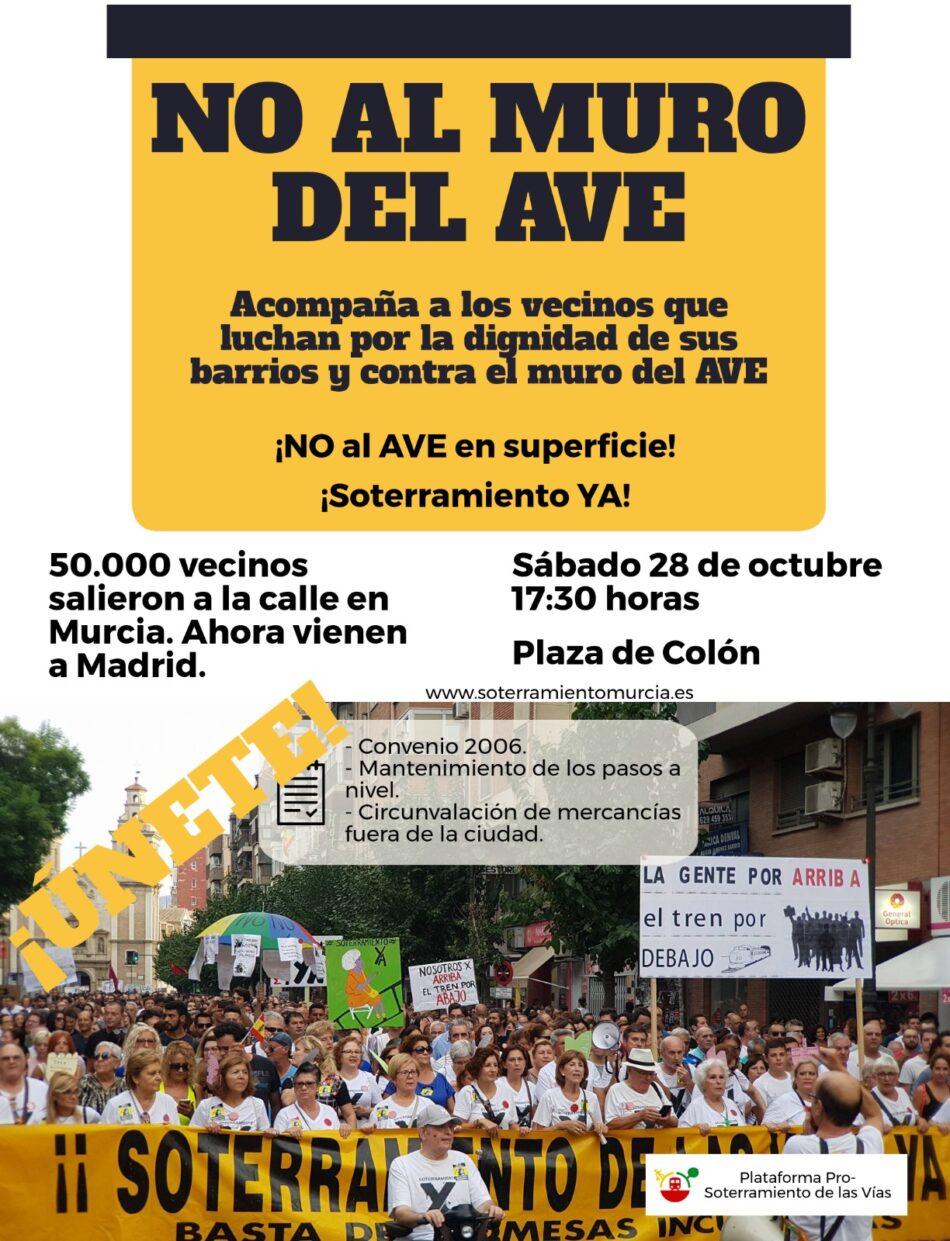 La FRAVM llama a unirse a los vecinos de Murcia en su marcha en la capital contra el muro del AVE