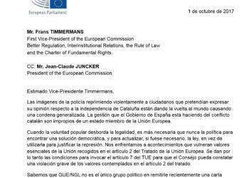 Podemos denuncia ante la  Comisión Europea la represión policial y reclama una solución democrática y política para Cataluña