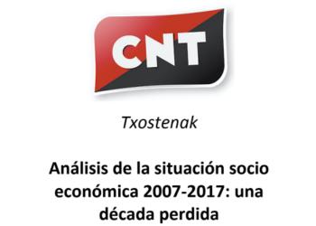 CNT publica un informe analizando la situación del empleo durante los últimos 10 años en Euskal Herria