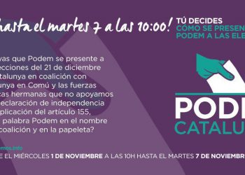 Más del 70% de inscritos de Podem Catalunya aprueban presentar una coalición electoral con Catalunya en Comú para el próximo 21D