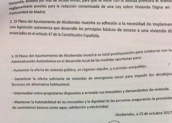 El Ayuntamiento de Alcobendas insta a la Asamblea de Madrid a debatir la Iniciativa Legislativa Popular de Vivienda