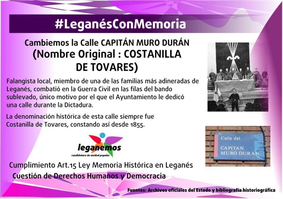 La Comisión de Memoria Histórica de Leganés elevará al pleno municipal el cambio de nombre de varias calles del municipio