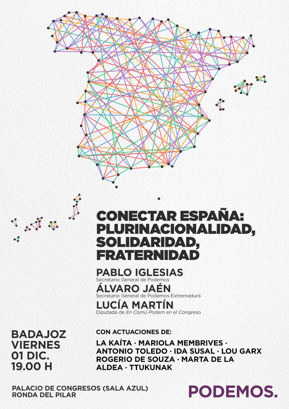 Pablo Iglesias visita Badajoz dentro de la ruta «Conectar España»