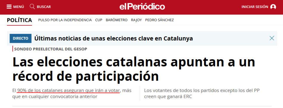 La participación en las elecciones de Cataluña a las 13 horas se sitúa por debajo de 2015 y lejos de los sondeos de los grupos de comunicación del establishment