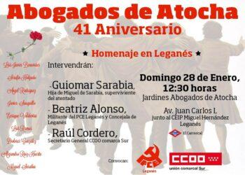 Homenaje 41 aniversario abogados Atocha en Leganés
