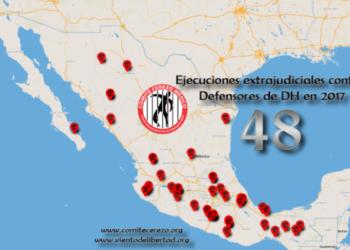 México. 48 Defensoras y defensores de derechos humanos ejecutados extrajudicialmente en 2017