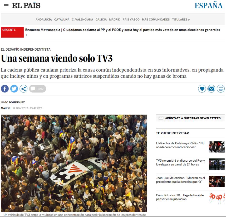 La justicia obliga a el diario «El País» a publicar una rectificación sobre  el reportaje «una semana en la burbuja de TV3»