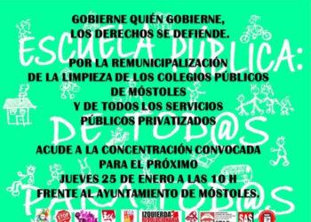 Concentración jueves 25 de enero, a las 10 h. frente al Ayuntamiento de Móstoles