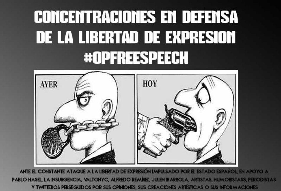 Convocadas manifestaciones contra la represión y por la libertad de expresión en 13 ciudades del estado español y ciudades de otros 10 países