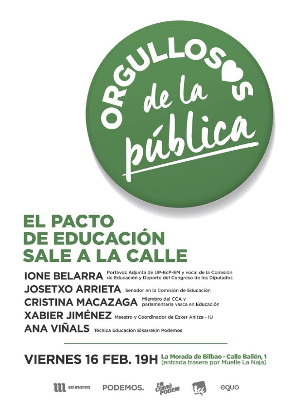 Unidos Podemos saca el Pacto Educativo a la calle