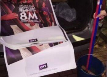 La policía requisa los carteles de CNT para la huelga del 8M en Valladolid