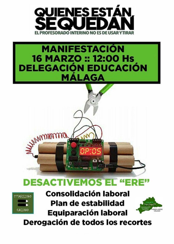Nueva manifestación del profesorado interino en Málaga el viernes 16 de marzo