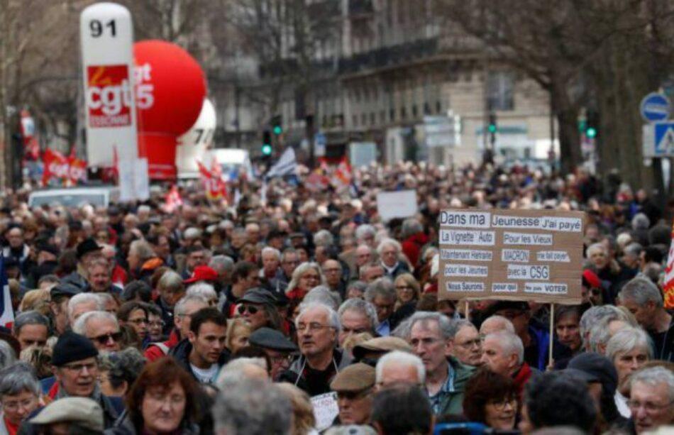 Una gran jornada de paros y manifestaciones contra la reforma laboral de servicios públicos en Francia