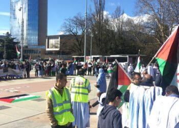Organizaciones de la sociedad civil saharaui se manifiestan en Ginebra por los derechos humanos