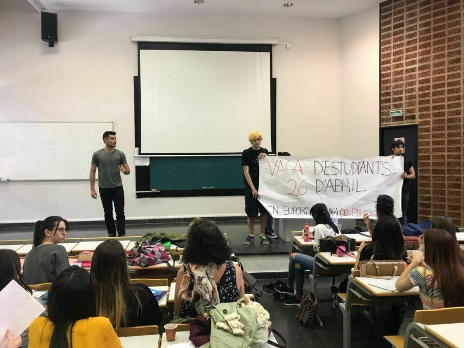 Los estudiantes de la Universidad de Valencia hacen huelga mañana en apoyo a los profesores asociados