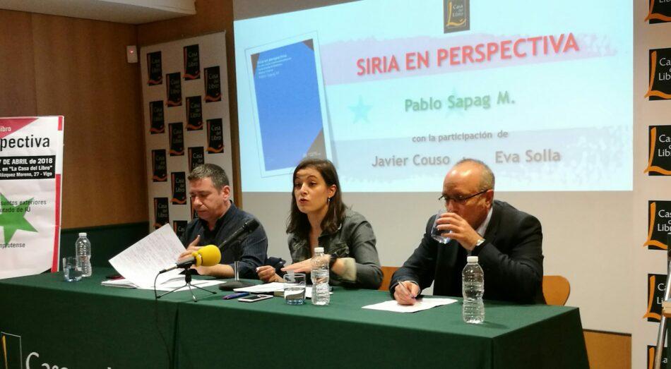"""Pablo Sapag, Eva Solla e Javier Couso debaten en Vigo sobre a situación de Siria dentro do contexto de Oriente Medio na conferencia: """"Siria en perspectiva"""""""