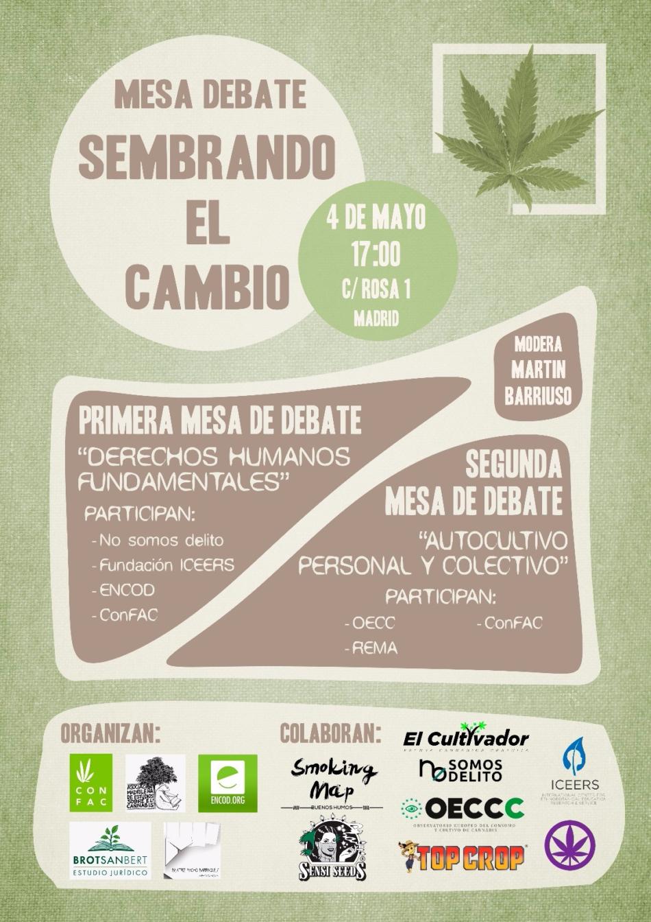Mesa debate, Sembrando el Cambio,  las personas usuarias como eje principal de la regulación del Cannabis en España