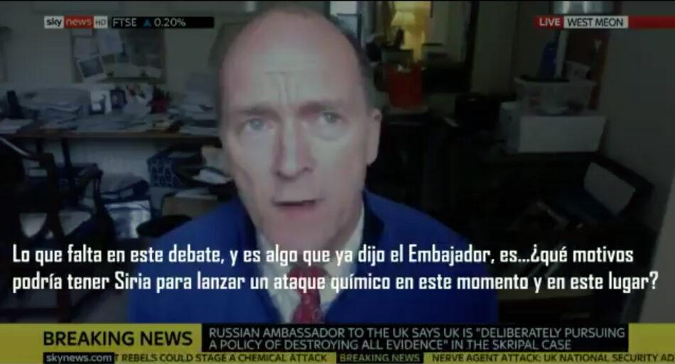 La cadena Sky News corta la entrevista a Jonathan Shaw, un comandante británico de las Fuerzas Armadas cuando cuestionaba la veracidad de los supuestos ataques químicos en Siria
