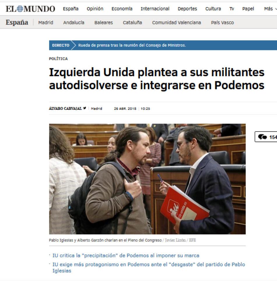 IU desmiente -una vez más- «la información publicada por un medio de comunicación» sobre su «absorción» por Podemos