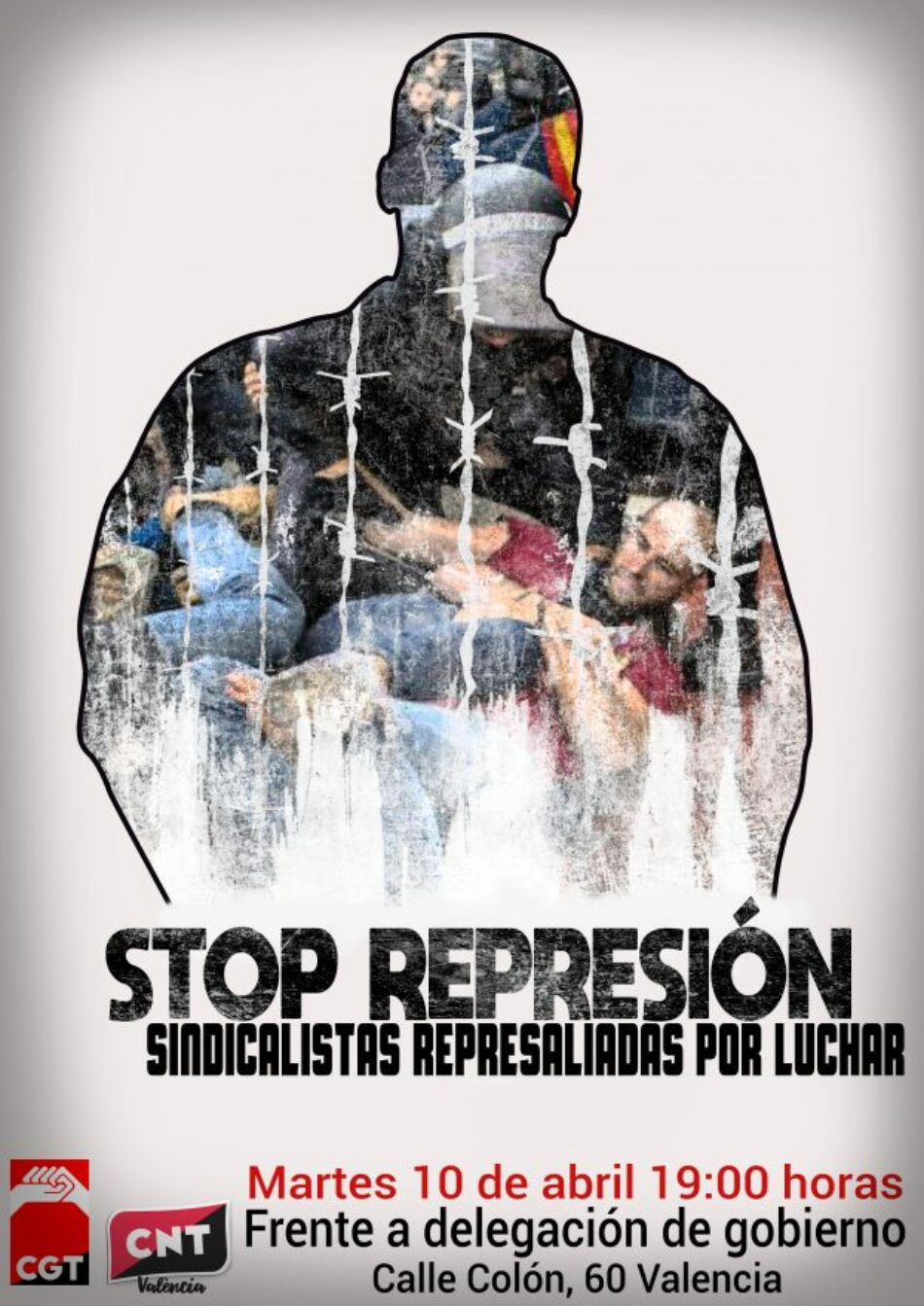 CNT y CGT convocan en València una concentración contra la represión