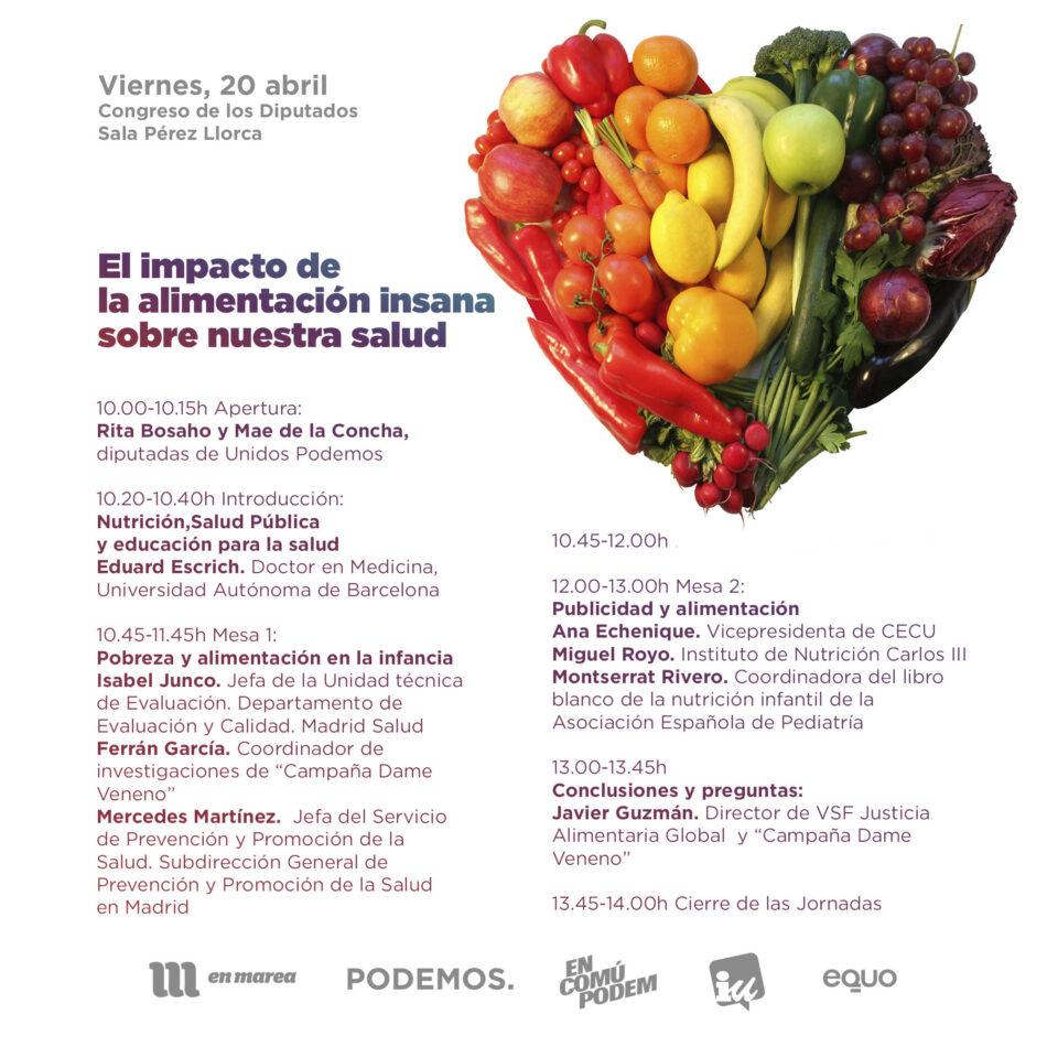 Unidos Podemos celebra la jornada 'El impacto de la alimentación insana'