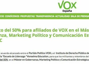 La Universidad Rey Juan Carlos concedía descuentos del 50% para afiliados de VOX en el Máster en Gobernanza, Marketing Político y Comunicación Estratégica de la URJC en 2015