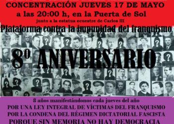 Concentración en Puerta del Sol por el 8º Aniversario a favor de la Verdad, la Justicia y la Reparación: 17 y 24 de Mayo