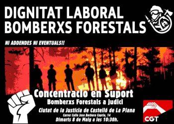 La CGT exigeix dignitat laboral per als bombers forestals amb un juí contra Tragsa i una concentració el 8 de maig a Castelló