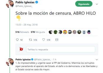 Pablo Iglesias concreta el recorrido tras la moción de censura: «convertir en leyes todas las iniciativas vetadas o bloqueadas por el PP»