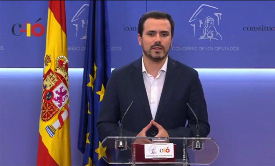 """Garzón muestra el apoyo de IU a la moción de censura porque la """"prioridad absoluta"""" ahora debe ser """"echar a la mafia del PP que ocupa el Gobierno»"""