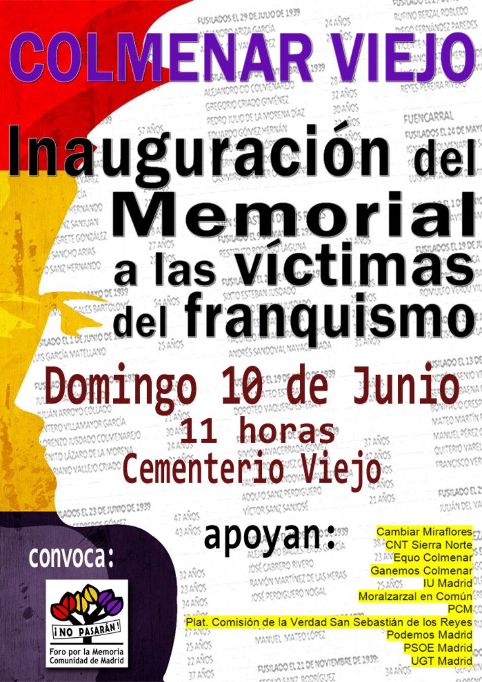 Inauguración del memorial a las Victimas del Franquismo en Colmenar Viejo